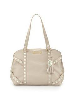 Betsey Johnson Iridescent Studded Dome Satchel Bag, Cream
