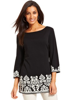 Charter Club Three-Quarter-Sleeve Border-Print Tunic