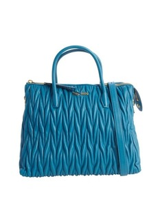 Miu Miu lagoon quilted leather logo imprinted convertible tote