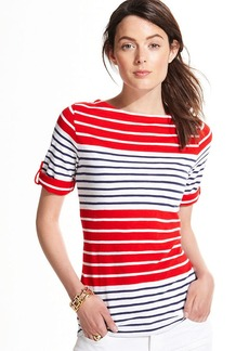 Tommy Hilfiger Colorblocked Striped Roll-Tab Tee