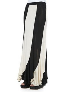 Jean Paul Gaultier Jersey Paneled Maxi Skirt, Black/Cream