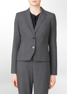 2-button charcoal pinstripe suit jacket