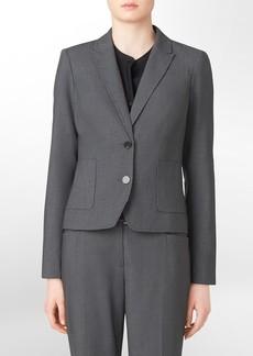 2-button charcoal pinstripe suit jacket