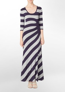 3/4 sleeve striped pattern ruched maxi dress