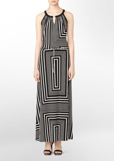 abstract print keyhole maxi dress