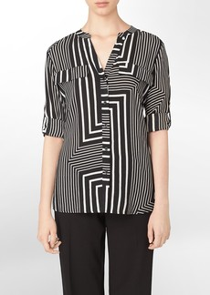 abstract stripe mandarin collar roll-up sleeve top