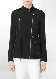 asymmetrical zip front cinched waist jacket