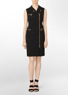 asymmetrical zip front utility dress