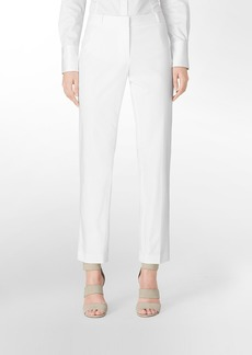body skinny white cotton stretch suit pants