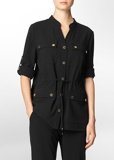 button front roll-up sleeve camp jacket