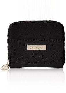 Calvin Klein 1 YP Small Saffiano Wallet, Black/Black, One Size