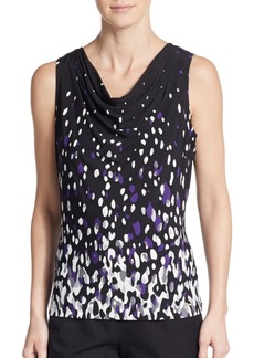 Calvin Klein Abstract-Dot Pleated Cowlneck Top