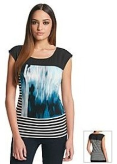 Calvin Klein Abstract Print Mixed Media Top