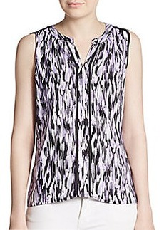 Calvin Klein Abstract Print Pleated Blouse