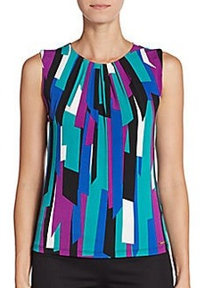 Calvin Klein Abstract Print Pleated Top
