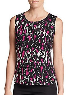 Calvin Klein Abstract-Print Pleated Top