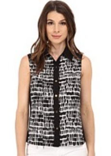Calvin Klein Abstract Printed Sleeveless Button Down w/ Color Blocking