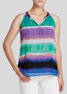 Calvin Klein Abstract Stripe Chain Trim Top