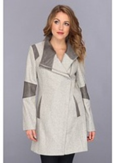 Calvin Klein Asymmetrical Coat w/ Faux Leather Trim CW385990