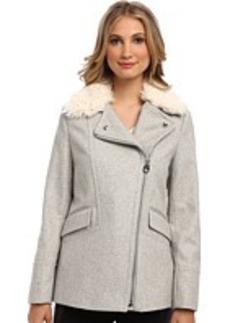 Calvin Klein Asymmetrical Furry Melton Coat CW385215