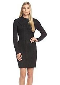 Calvin Klein Asymmetrical Neckline Cable Sweater Dress