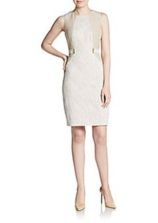 Calvin Klein Asymmetrical Seamed Textured Sheath Dress