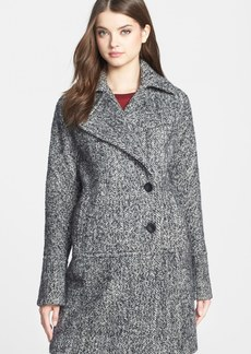 Calvin Klein Asymmetrical Wool Blend Tweed Coat (Online Only)