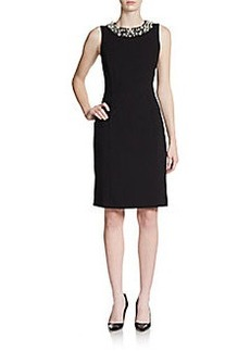 Calvin Klein Beaded-Neck Sheath Dress