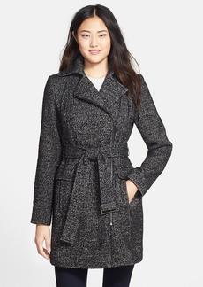 Calvin Klein Belted Asymmetrical Tweed Coat