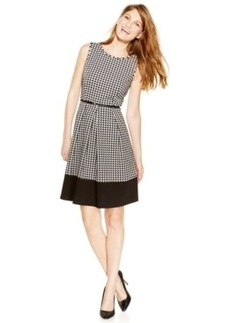 Calvin Klein Belted Colorblock-Hem Pleated Dress
