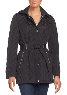 Calvin Klein Belted Diamond Quilted Coat