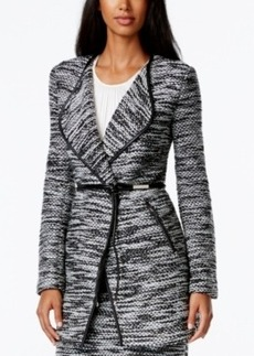 Calvin Klein Belted Faux-Leather-Trim Tweed Jacket