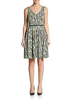 Calvin Klein Belted Fit-and-Flare Print Dress