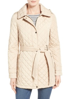 Calvin Klein Belted Hooded Quilted Coat