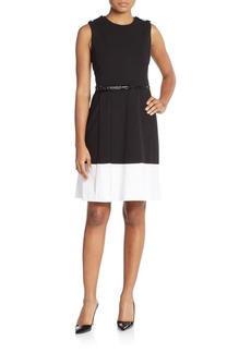 Calvin Klein Belted Pleat-Front Dress