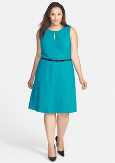 Calvin Klein Belted Sleeveless Fit & Flare Dress (Plus Size)