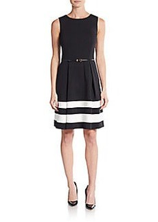 Calvin Klein Belted Stripe A-Line Dress