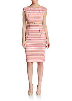 Calvin Klein Belted Striped Sheath