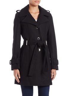CALVIN KLEIN Belted Wool Blend Coat