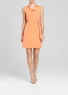 Calvin Klein Belted Zip Front Moto Dress