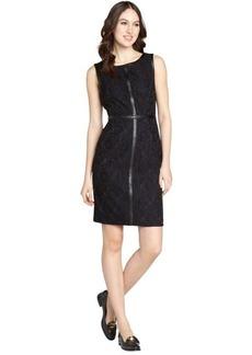 Calvin Klein black and indigo tank faux leather detail lace dress
