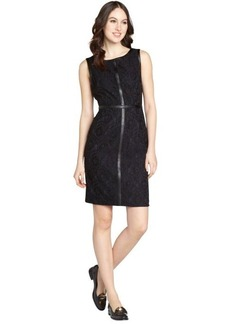 Calvin Klein black and indigo tank faux leather detail lace dress