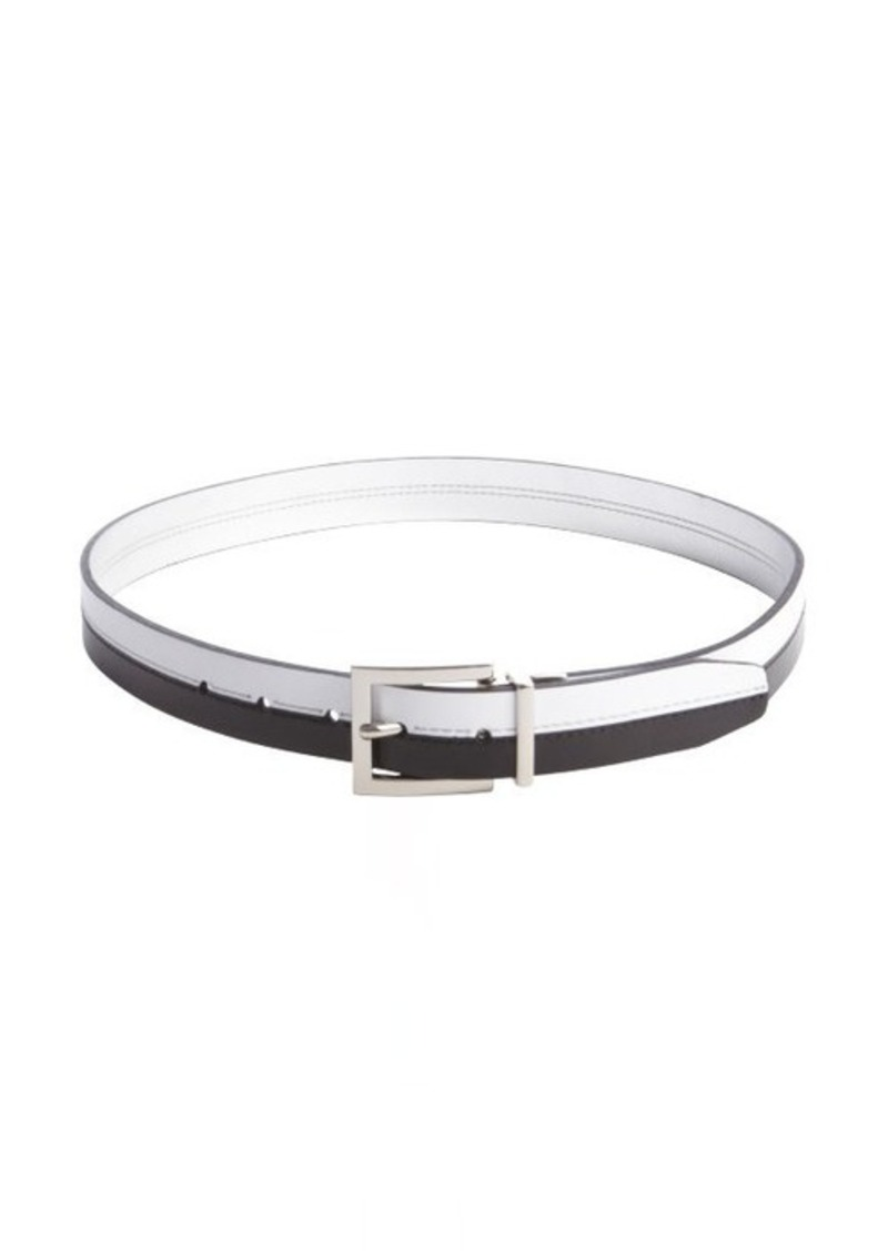 Calvin Klein black and white reversible mirror belt
