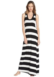 Calvin Klein black and white stretch striped racerback coverup dress