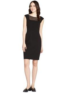 Calvin Klein black cap sleeve silk floral detail dress