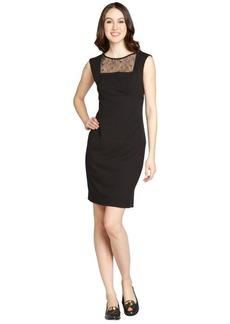 Calvin Klein black lace trim cap sleeve dress