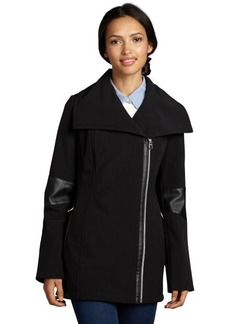 Calvin Klein black softshell faux leather trimmed asymmetrical zip coat