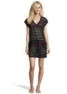 Calvin Klein black stretch mesh detail draw string waist coverup