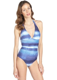 Calvin Klein blue watercolor pattern halter one-piece swimsuit