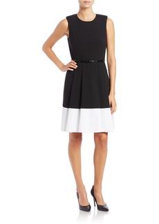 CALVIN KLEIN Bordered Pleated Dress